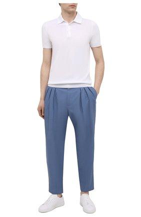 Мужские брюки изо льна и хлопка DOLCE & GABBANA голубого цвета, арт. GWJBHZ/FU4F6 | Фото 2