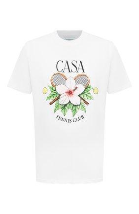Мужская хлопковая футболка CASABLANCA белого цвета, арт. MS21-TS-001 WHITE- CASA TENNIS CLUB | Фото 1