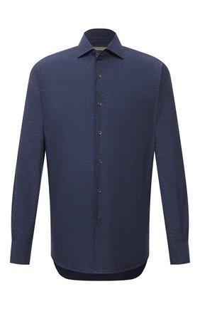 Мужская хлопковая рубашка CORNELIANI темно-синего цвета, арт. 87P156-1111609/00 | Фото 1 (Рукава: Длинные; Длина (для топов): Стандартные; Материал внешний: Хлопок; Случай: Повседневный; Принт: Однотонные; Воротник: Акула; Стили: Кэжуэл; Рубашки М: Regular Fit; Манжеты: На пуговицах)