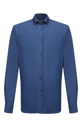 Мужская хлопковая рубашка CORNELIANI синего цвета, арт. 87P120-1111054/00 | Фото 1