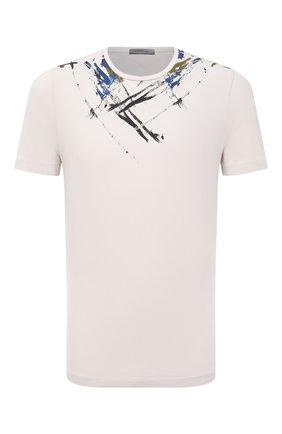 Мужская хлопковая футболка CORNELIANI светло-бежевого цвета, арт. 87G587-1125049/00 | Фото 1
