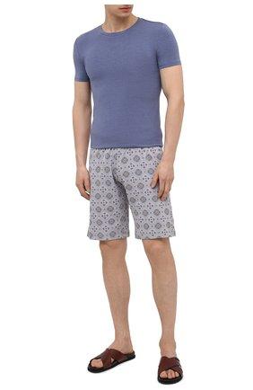 Мужские хлопковые шорты HANRO серого цвета, арт. 075513 | Фото 2 (Материал внешний: Хлопок; Кросс-КТ: домашняя одежда)