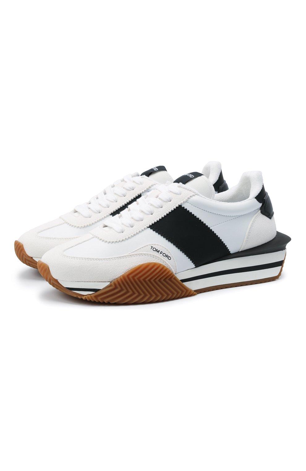 Мужские комбинированные кроссовки TOM FORD белого цвета, арт. J1292T-TAP003 | Фото 1