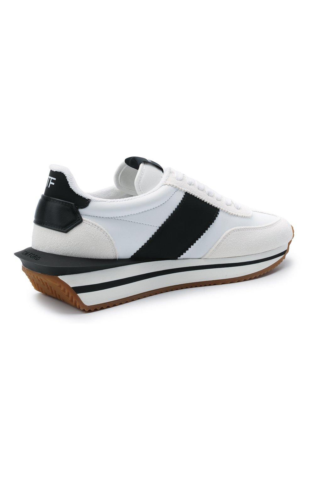 Мужские комбинированные кроссовки TOM FORD белого цвета, арт. J1292T-TAP003 | Фото 4