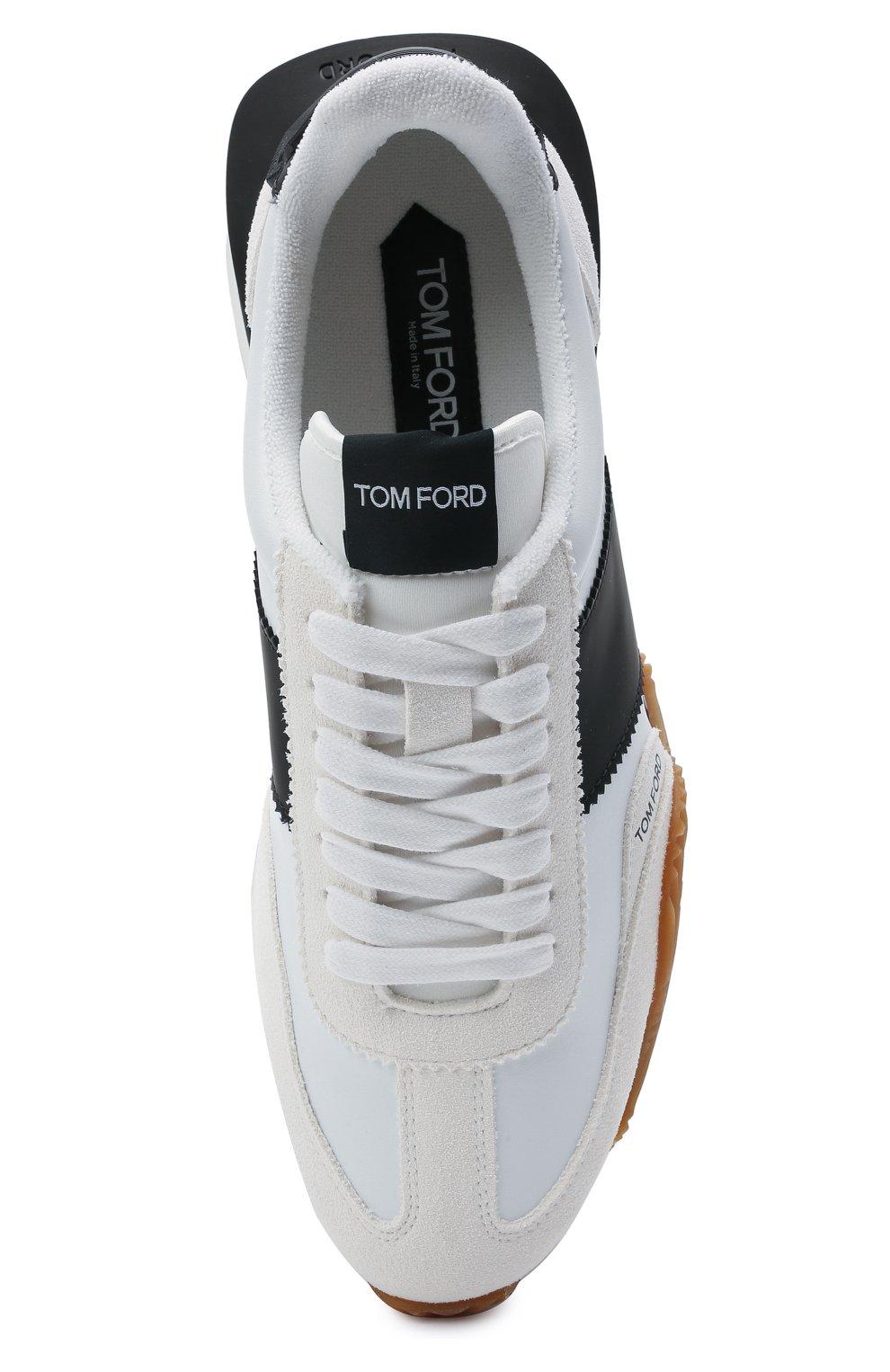 Мужские комбинированные кроссовки TOM FORD белого цвета, арт. J1292T-TAP003 | Фото 5