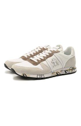 Мужские комбинированные кроссовки eric PREMIATA белого цвета, арт. ERIC/VAR5174 | Фото 1 (Материал внутренний: Натуральная кожа; Подошва: Плоская; Материал внешний: Текстиль; Стили: Гранж)