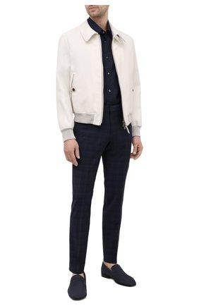 Мужские кожаные пенни-лоферы wedian BALLY темно-синего цвета, арт. WEDIAN-U/526 | Фото 2 (Материал внутренний: Натуральная кожа; Стили: Классический)