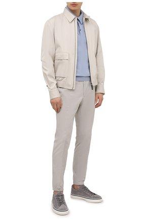 Мужские хлопковые джоггеры Z ZEGNA светло-серого цвета, арт. 9ZF028/73GLC1   Фото 2 (Материал внешний: Хлопок; Длина (брюки, джинсы): Стандартные; Силуэт М (брюки): Джоггеры; Стили: Кэжуэл)