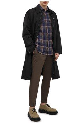 Мужские брюки из хлопка и льна Z ZEGNA хаки цвета, арт. VW162/ZZ330 | Фото 2 (Материал внешний: Хлопок; Длина (брюки, джинсы): Стандартные; Силуэт М (брюки): Чиносы; Случай: Повседневный; Стили: Кэжуэл)