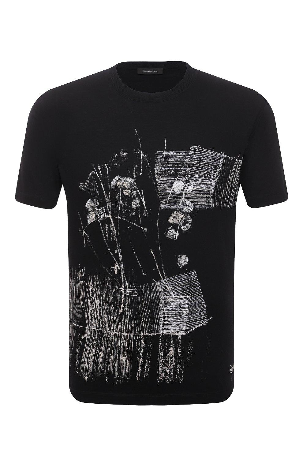 Мужская хлопковая футболка ERMENEGILDO ZEGNA темно-синего цвета, арт. UW526/706M | Фото 1