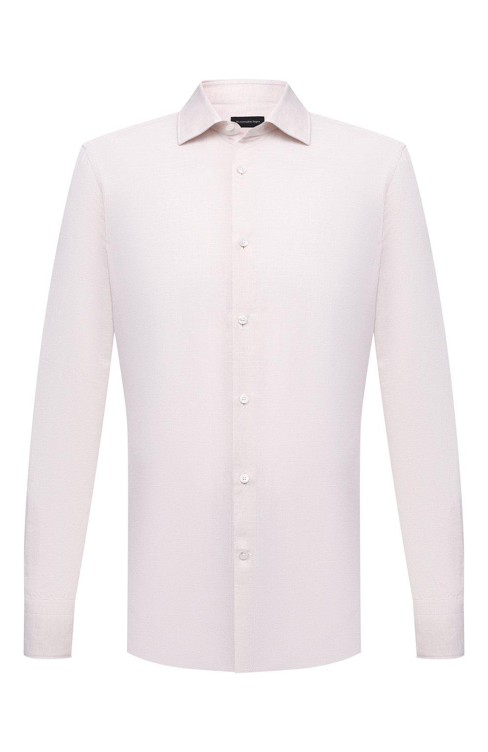 Мужская рубашка из хлопка и льна ERMENEGILDO ZEGNA кремвого цвета, арт. 901456/9MS0M2 | Фото 1