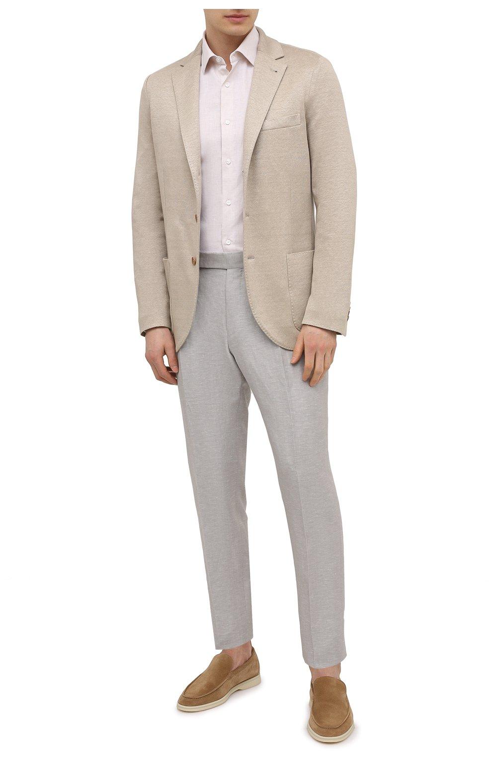 Мужская рубашка из хлопка и льна ERMENEGILDO ZEGNA кремвого цвета, арт. 901456/9MS0M2 | Фото 2