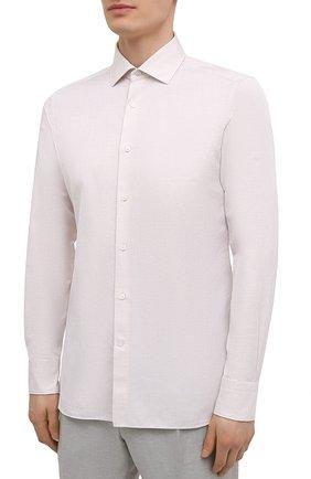 Мужская рубашка из хлопка и льна ERMENEGILDO ZEGNA кремвого цвета, арт. 901456/9MS0M2 | Фото 3