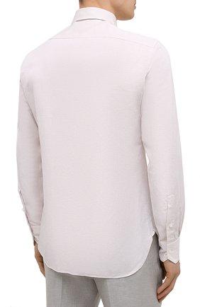 Мужская рубашка из хлопка и льна ERMENEGILDO ZEGNA кремвого цвета, арт. 901456/9MS0M2 | Фото 4