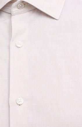 Мужская рубашка из хлопка и льна ERMENEGILDO ZEGNA кремвого цвета, арт. 901456/9MS0M2 | Фото 5