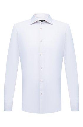 Мужская рубашка из хлопка и льна ERMENEGILDO ZEGNA светло-голубого цвета, арт. 901455/9MS0M2 | Фото 1
