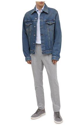 Мужская рубашка из хлопка и льна ERMENEGILDO ZEGNA светло-голубого цвета, арт. 901455/9MS0M2 | Фото 2