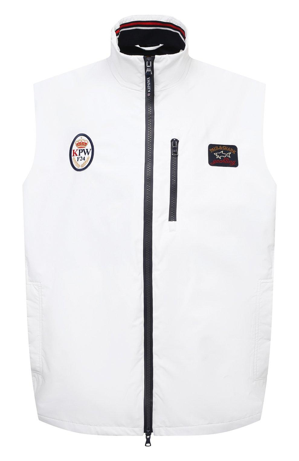 Мужской жилет PAUL&SHARK белого цвета, арт. 21412032/F8I/3XL-6XL   Фото 1 (Кросс-КТ: Куртка; Материал внешний: Синтетический материал; Длина (верхняя одежда): Короткие; Материал подклада: Хлопок; Стили: Кэжуэл)