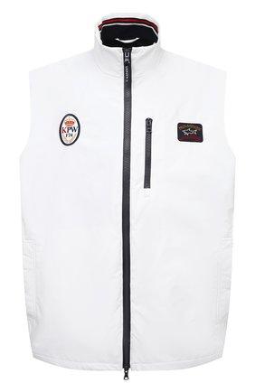 Мужской жилет PAUL&SHARK белого цвета, арт. 21412032/F8I/3XL-6XL | Фото 1 (Длина (верхняя одежда): Короткие; Материал внешний: Синтетический материал; Материал подклада: Хлопок; Стили: Кэжуэл; Кросс-КТ: Куртка)