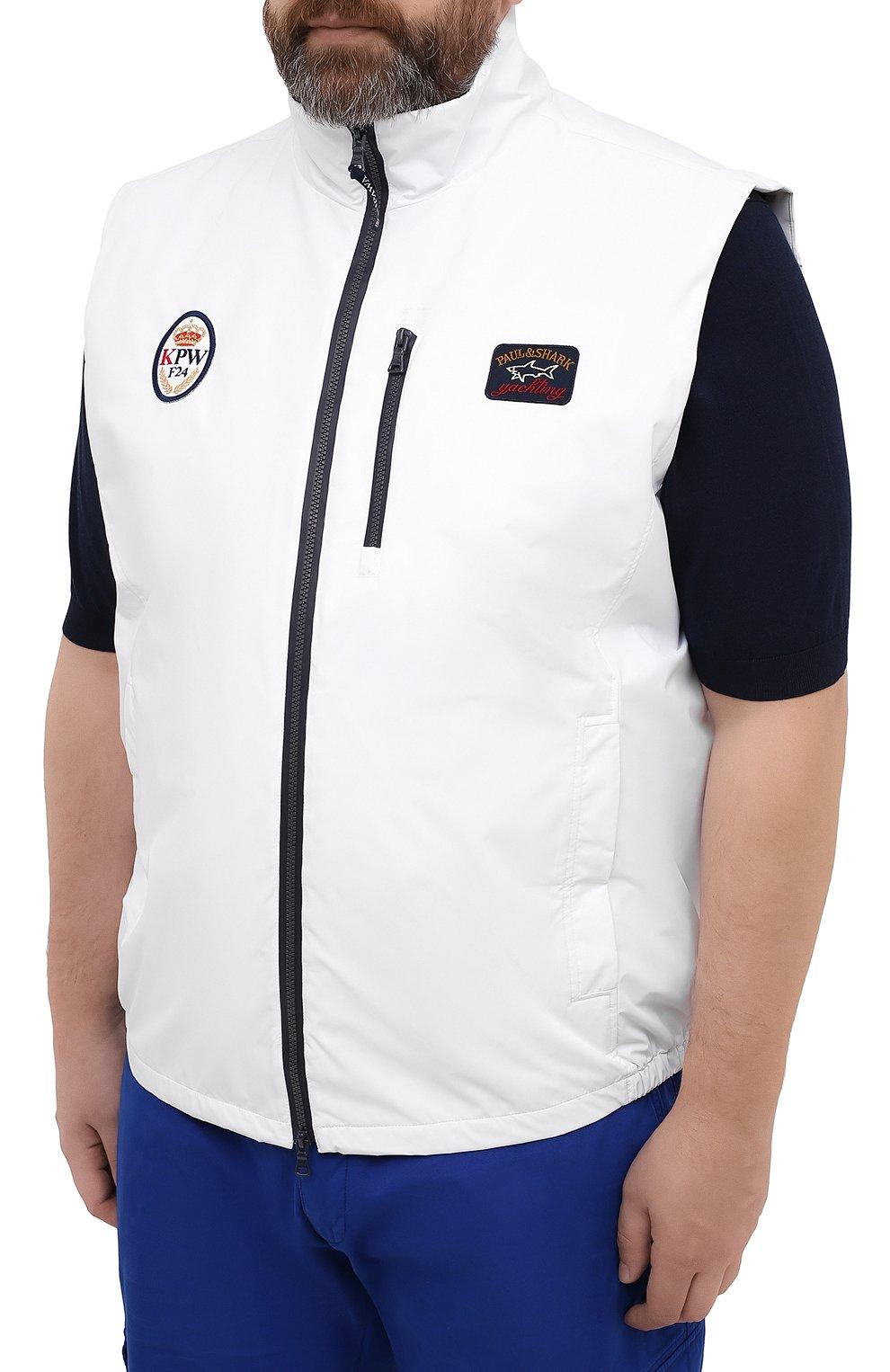 Мужской жилет PAUL&SHARK белого цвета, арт. 21412032/F8I/3XL-6XL   Фото 3 (Кросс-КТ: Куртка; Материал внешний: Синтетический материал; Длина (верхняя одежда): Короткие; Материал подклада: Хлопок; Стили: Кэжуэл)