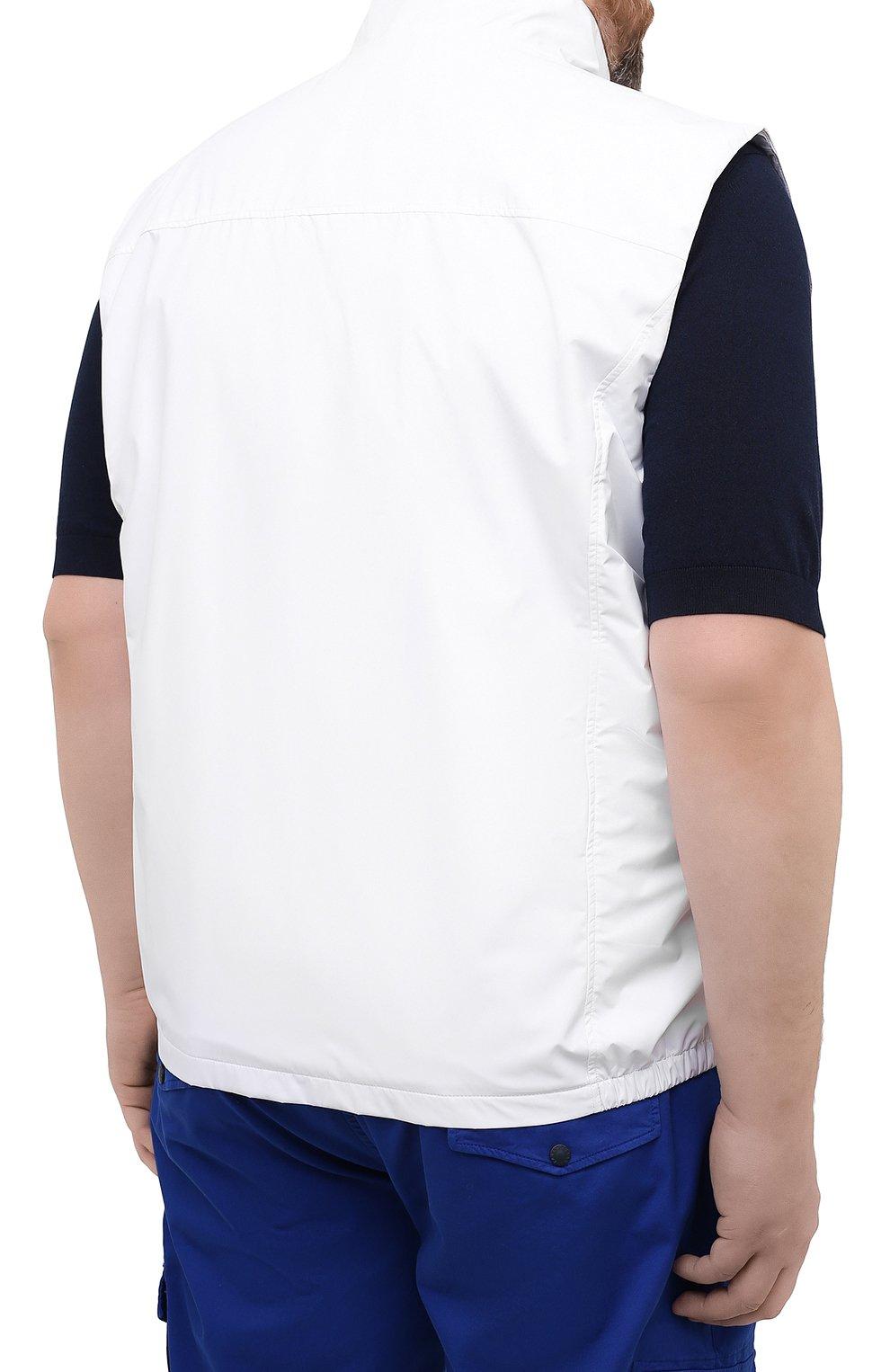 Мужской жилет PAUL&SHARK белого цвета, арт. 21412032/F8I/3XL-6XL   Фото 4 (Кросс-КТ: Куртка; Материал внешний: Синтетический материал; Длина (верхняя одежда): Короткие; Материал подклада: Хлопок; Стили: Кэжуэл)