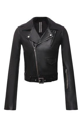 Мужская кожаная куртка RICK OWENS черного цвета, арт. RU21S6771/LGW | Фото 1