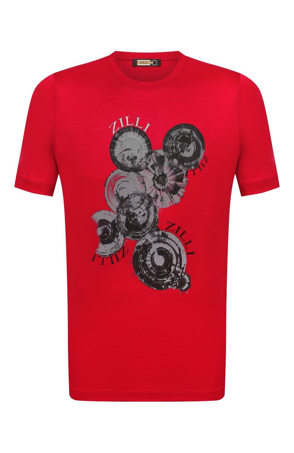 Мужская хлопковая футболка ZILLI красного цвета, арт. MEV-NT270-BUBB1/MC01   Фото 1