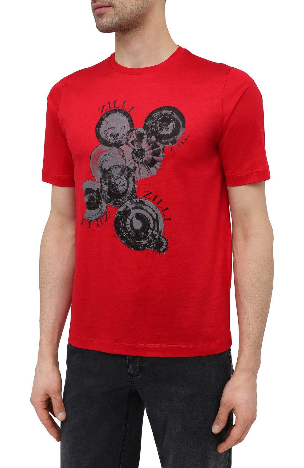 Мужская хлопковая футболка ZILLI красного цвета, арт. MEV-NT270-BUBB1/MC01   Фото 3