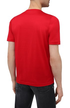 Мужская хлопковая футболка ZILLI красного цвета, арт. MEV-NT270-BUBB1/MC01   Фото 4