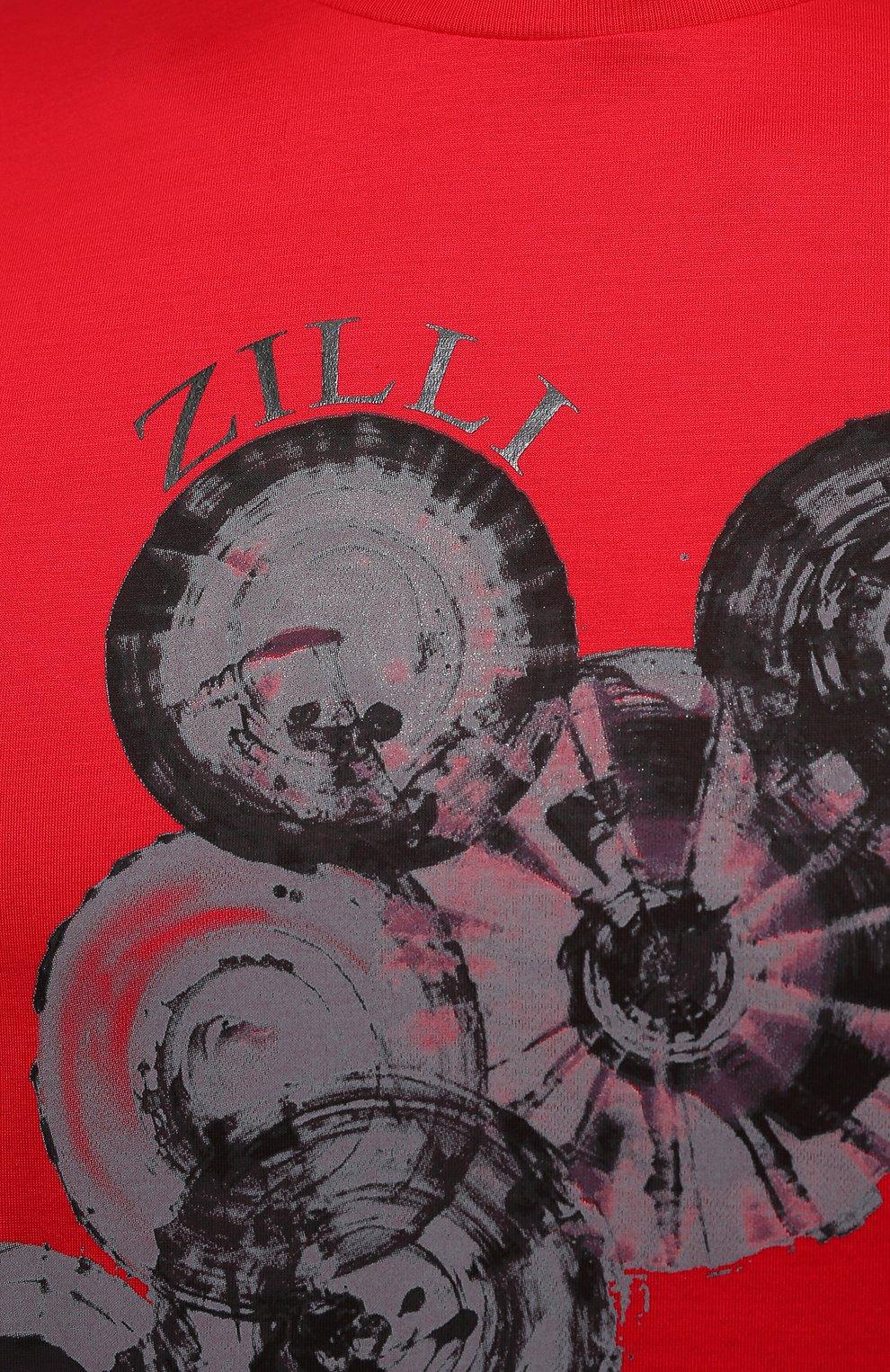 Мужская хлопковая футболка ZILLI красного цвета, арт. MEV-NT270-BUBB1/MC01   Фото 5