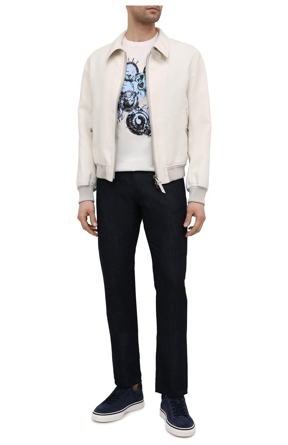 Мужская хлопковая футболка ZILLI белого цвета, арт. MEV-NT270-BUBB1/MC01   Фото 2