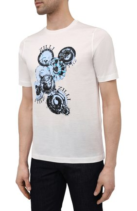 Мужская хлопковая футболка ZILLI белого цвета, арт. MEV-NT270-BUBB1/MC01   Фото 3