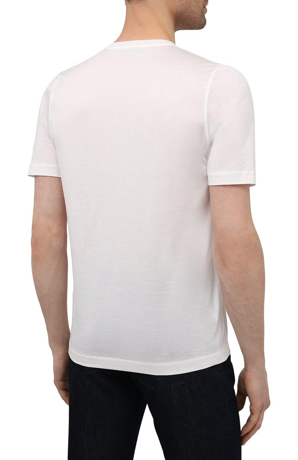 Мужская хлопковая футболка ZILLI белого цвета, арт. MEV-NT270-BUBB1/MC01   Фото 4