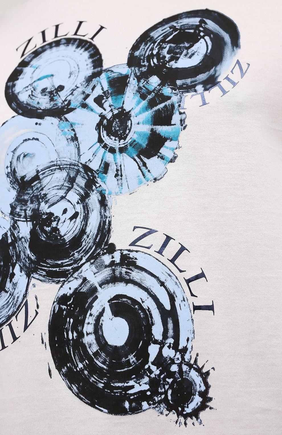 Мужская хлопковая футболка ZILLI белого цвета, арт. MEV-NT270-BUBB1/MC01   Фото 5