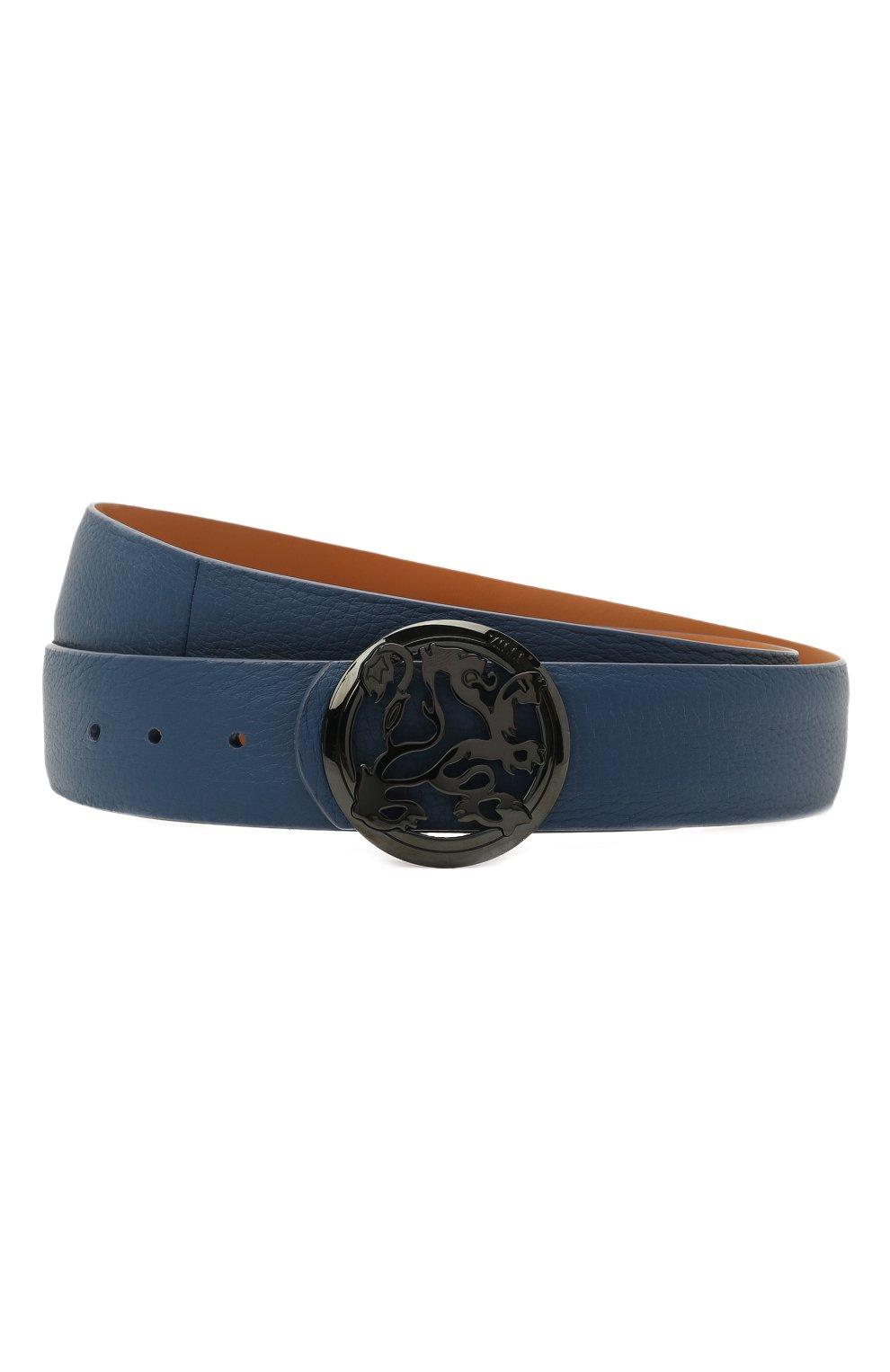 Мужской кожаный ремень ZILLI синего цвета, арт. MJL-CLAQE-01947/0035/120-130   Фото 1 (Случай: Формальный)