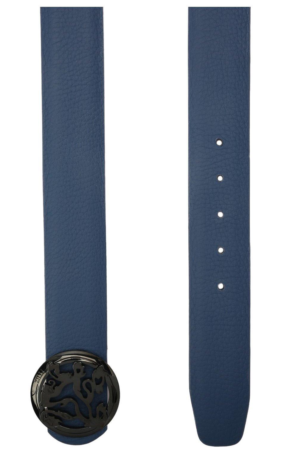Мужской кожаный ремень ZILLI синего цвета, арт. MJL-CLAQE-01947/0035/120-130   Фото 2 (Случай: Формальный)