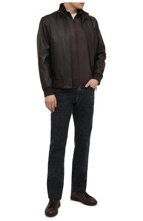 Мужской кожаный бомбер GIMO'S темно-коричневого цвета, арт. 21PE.1.090.62 | Фото 2