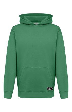 Мужской хлопковое худи VALENTINO зеленого цвета, арт. VV0MF18F7EY | Фото 1