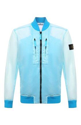 Мужской бомбер STONE ISLAND бирюзового цвета, арт. 741543134 | Фото 1 (Материал внешний: Синтетический материал; Материал подклада: Синтетический материал; Рукава: Длинные; Длина (верхняя одежда): Короткие; Принт: Без принта; Кросс-КТ: Куртка; Стили: Гранж)