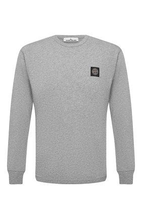 Мужская хлопковый лонгслив STONE ISLAND серого цвета, арт. 741522713   Фото 1