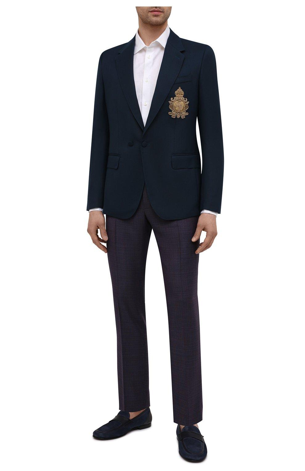 Мужские шерстяные брюки DOLCE & GABBANA темно-фиолетового цвета, арт. GY6IET/FU217   Фото 2