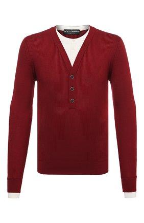 Мужской пуловер из шелка и хлопка DOLCE & GABBANA бордового цвета, арт. GXD75T/JBMH3 | Фото 1