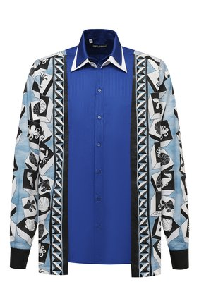 Мужская хлопковая рубашка DOLCE & GABBANA синего цвета, арт. G5IN2T/GEQ46 | Фото 1 (Рукава: Длинные; Длина (для топов): Стандартные; Материал внешний: Хлопок; Случай: Повседневный; Стили: Кэжуэл; Рубашки М: Classic Fit; Принт: С принтом; Манжеты: На пуговицах; Воротник: Кент)