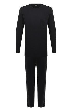 Мужская хлопковая пижама ZIMMERLI темно-синего цвета, арт. 286-95502 | Фото 1 (Рукава: Длинные; Длина (брюки, джинсы): Стандартные; Кросс-КТ: домашняя одежда; Длина (для топов): Стандартные; Материал внешний: Хлопок)