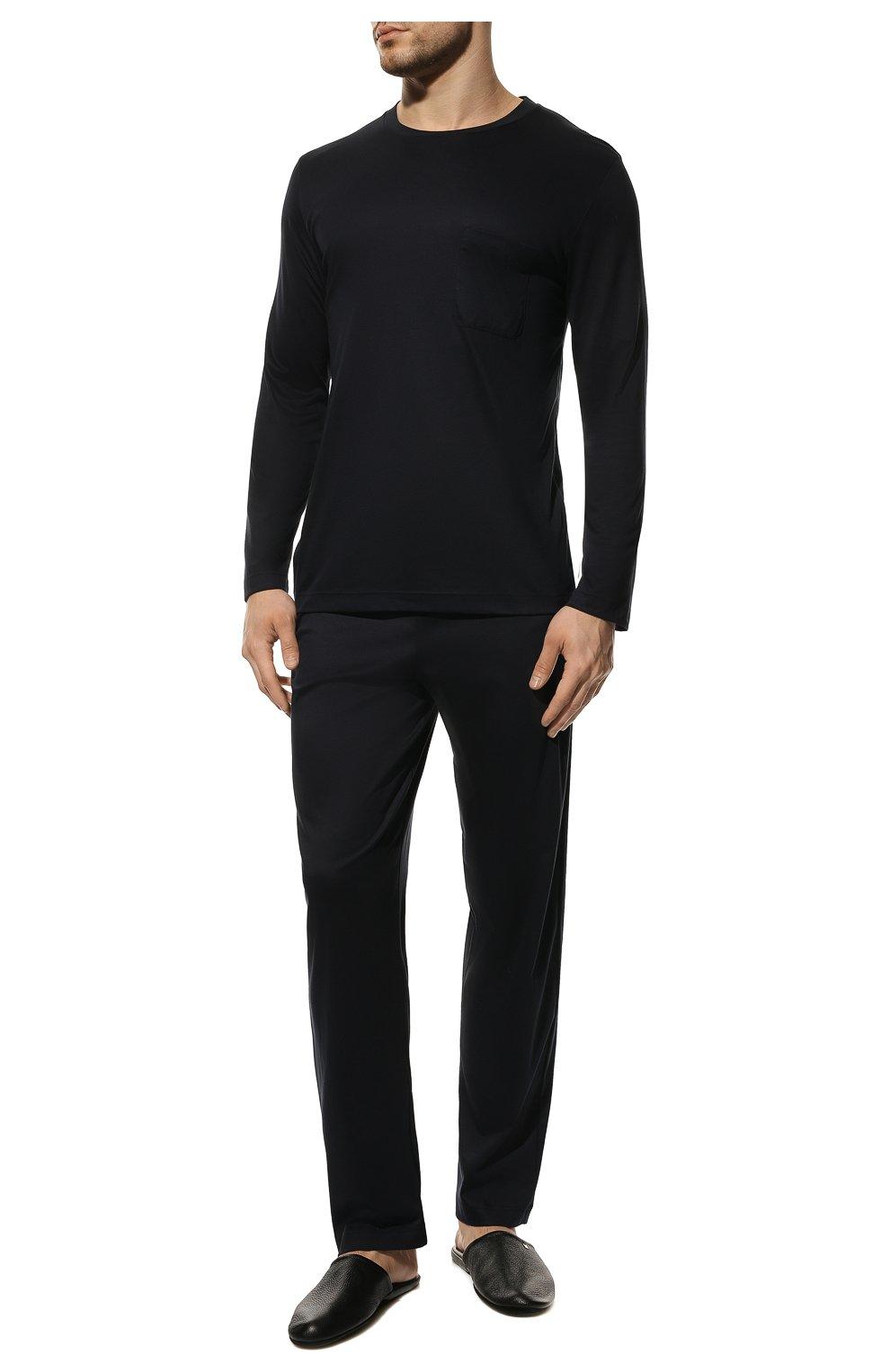 Мужская хлопковая пижама ZIMMERLI темно-синего цвета, арт. 286-95502 | Фото 2 (Рукава: Длинные; Длина (брюки, джинсы): Стандартные; Кросс-КТ: домашняя одежда; Длина (для топов): Стандартные; Материал внешний: Хлопок)