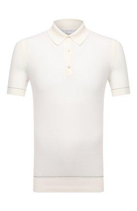 Мужское хлопковое поло BRIONI белого цвета, арт. UMR200/P0K15 | Фото 1