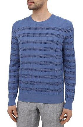 Мужской хлопковый джемпер BRIONI синего цвета, арт. UMQ90L/P0K11   Фото 3