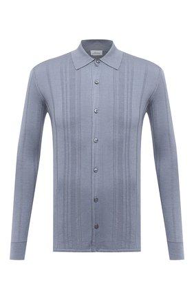 Мужская шелковая рубашка BRIONI голубого цвета, арт. UMHZ0L/P0K19 | Фото 1 (Длина (для топов): Стандартные; Материал внешний: Шелк; Рукава: Длинные; Случай: Повседневный; Стили: Кэжуэл; Принт: Однотонные; Манжеты: На пуговицах; Воротник: Кент)