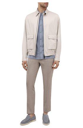 Мужская шелковая рубашка BRIONI голубого цвета, арт. UMHZ0L/P0K19 | Фото 2 (Длина (для топов): Стандартные; Материал внешний: Шелк; Рукава: Длинные; Случай: Повседневный; Стили: Кэжуэл; Принт: Однотонные; Манжеты: На пуговицах; Воротник: Кент)