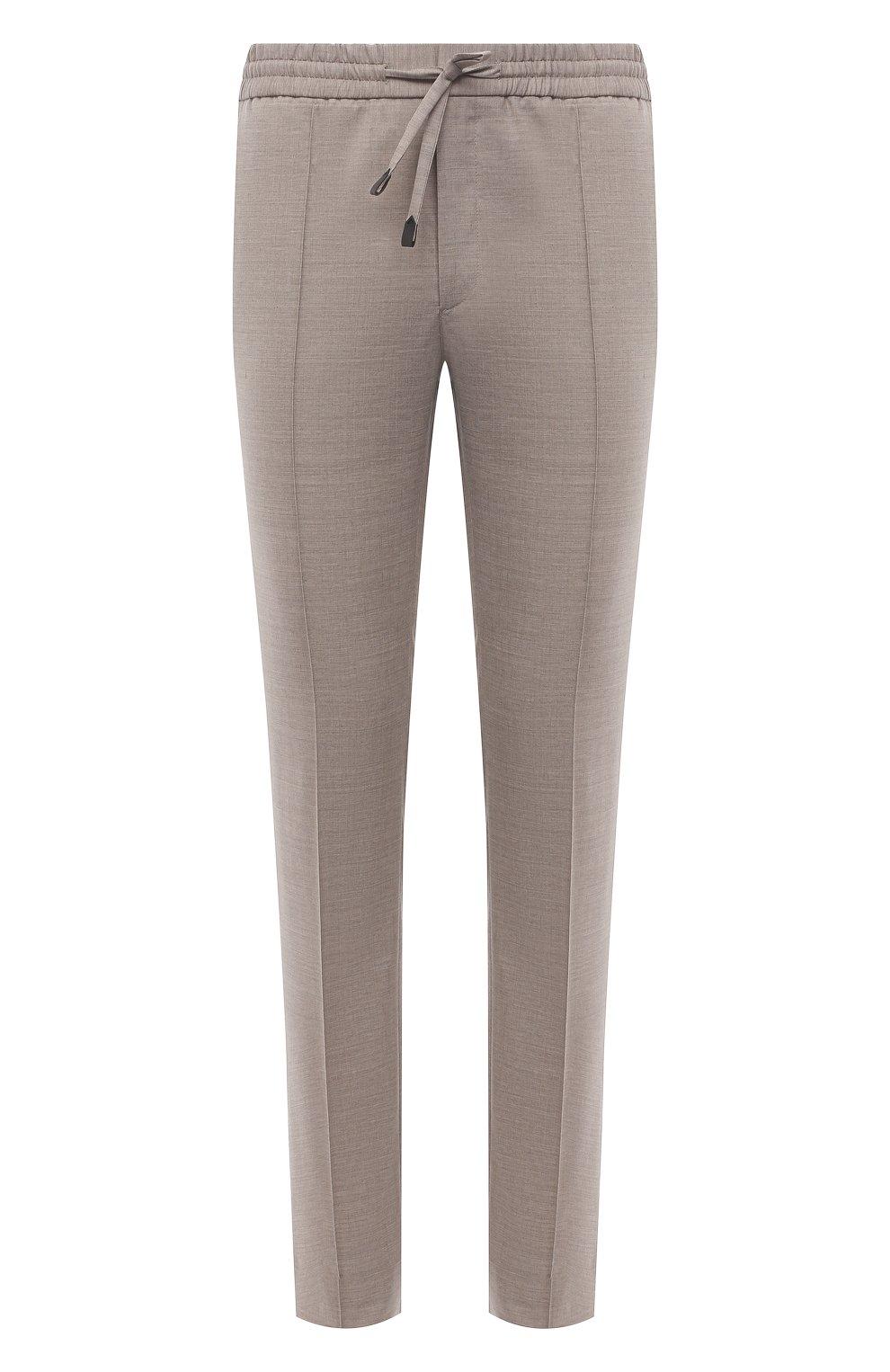 Мужские брюки из шерсти и льна BRIONI бежевого цвета, арт. RPM20L/P9AB9/NEW SIDNEY   Фото 1